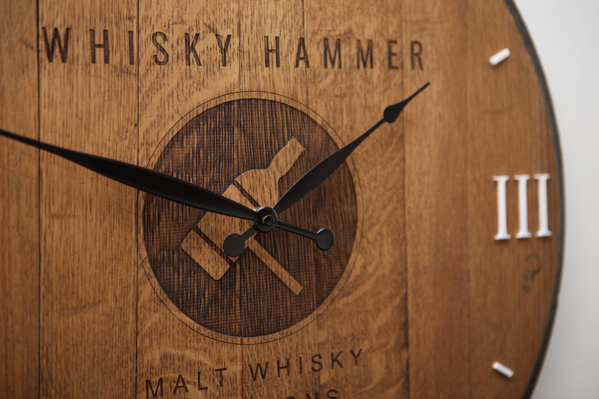 Cask end clock - The Altered State - Whisky Hammer Clock - Laser Engraving