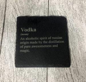 laser engraved vodka coaster