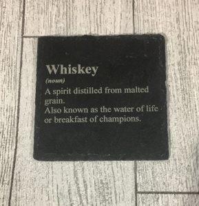 laser engraved whiskey coaster