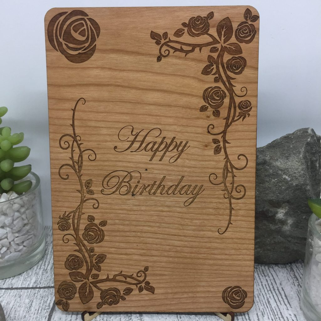 Wooden Happy Birthday Card with Roses