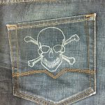 Laser engraved denim jeans