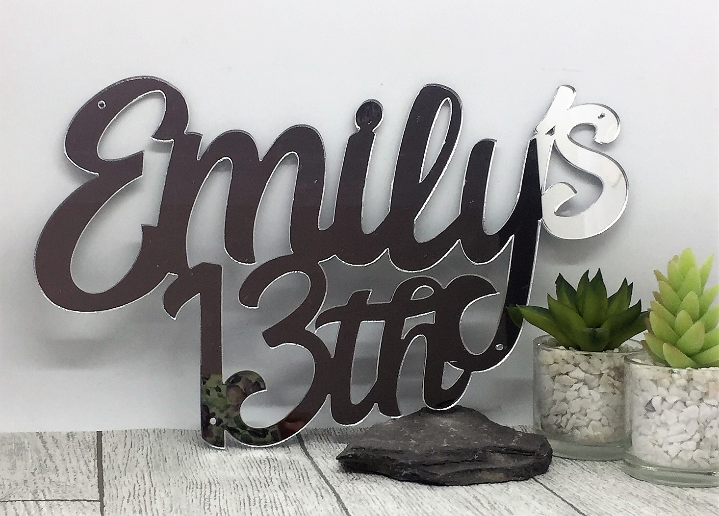 Cake topper - mirrored acrylic sign - 13th birthday - birthday name sign