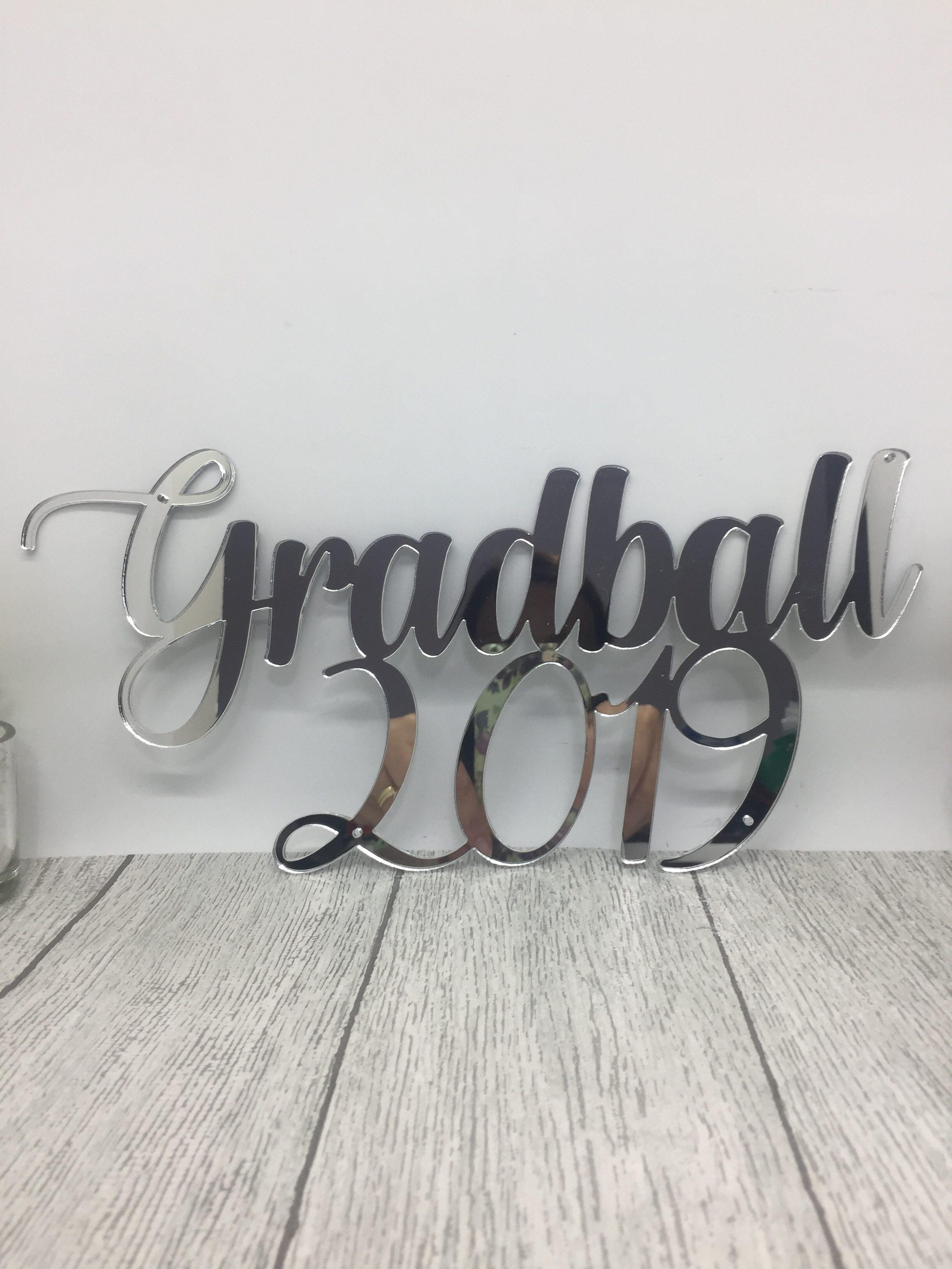 Cake topper - mirrored acrylic sign - graduation ball - acrylic name sign