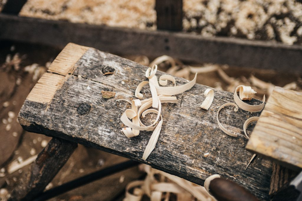 Workshop wood shavings
