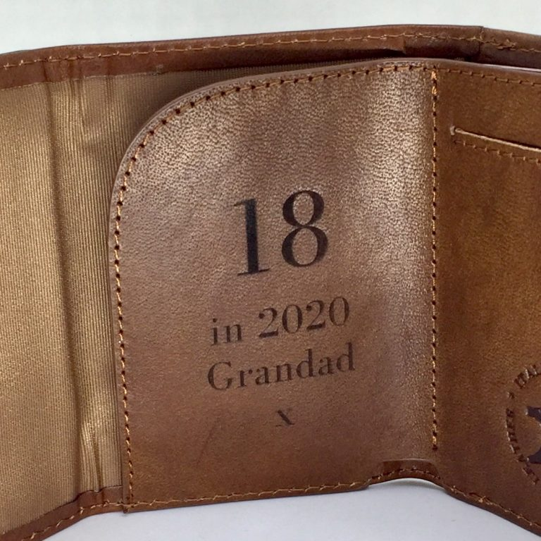 Laser engraved leather wallet - 18th birthday