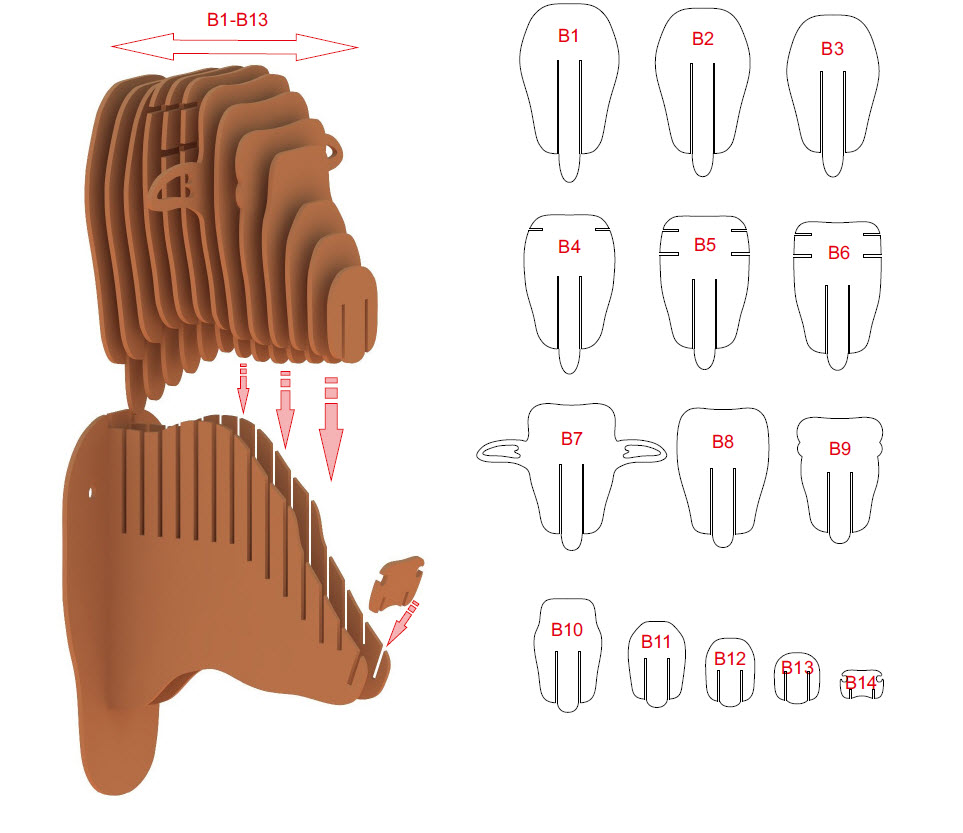 3D Highland Cow Head - Instructions - Step 2