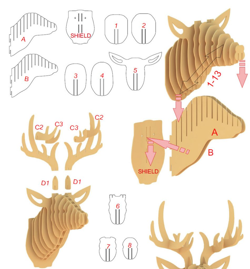 3D Stag Head - Instructions - Step 1