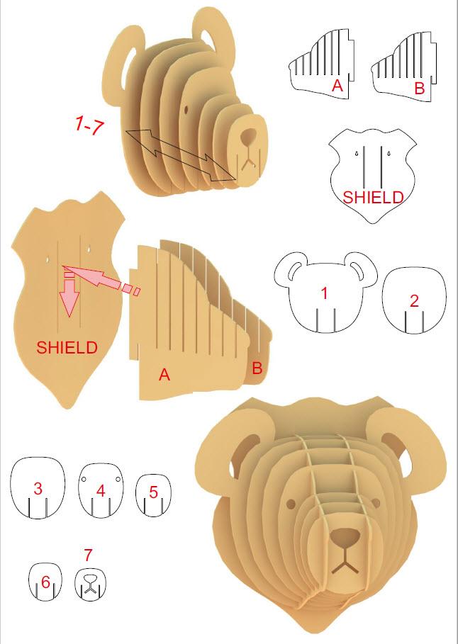 3D Teddy Bear Head - Instructions