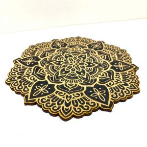 Laser Engraved Black Plywood Mandala - The Altered State - Danna Tattoo