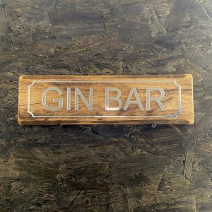 Gin Bar sign with silver mirror acrylic lettering and a reclaimed pallet wood base
