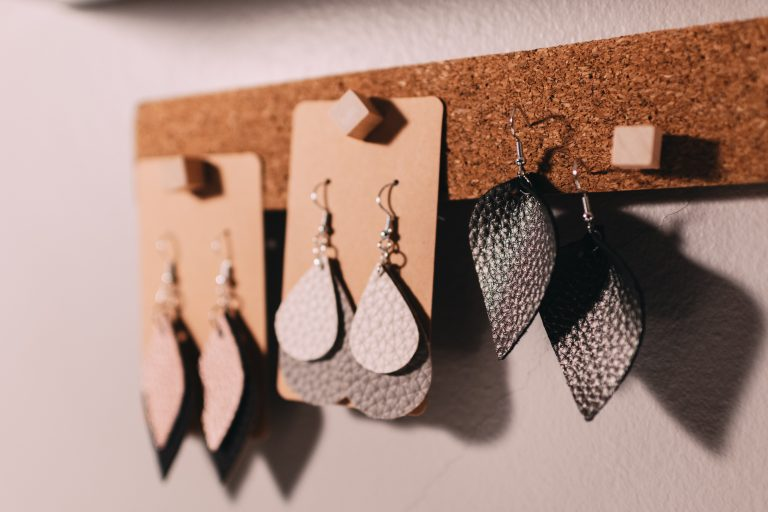 Laser cut leather earrings by The Altered State