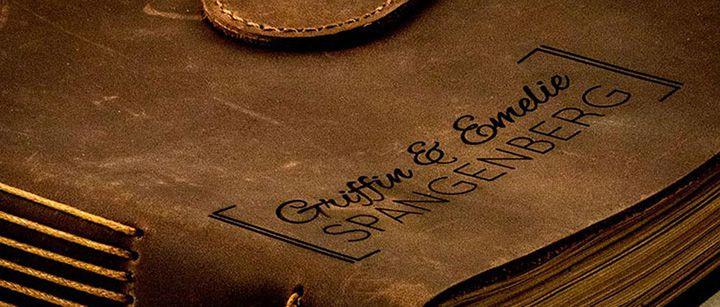 Laser engraved leather book