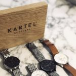 oak point of sale sign with laser engraved logo for kartel watches by the altered state