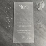 Personalised Wedding menu laser engraved and cut from frosted acrylic by The Altered State