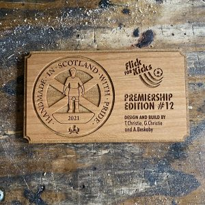cherry wood plaque for a subbuteo table made by flick for kicks, laser cut and engraved by the altered state